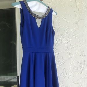 Beautiful royal blue dress with metal detailing